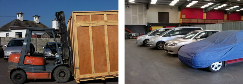 2 images together, 1 showing the image of a fork lift and the other showing cars in storage